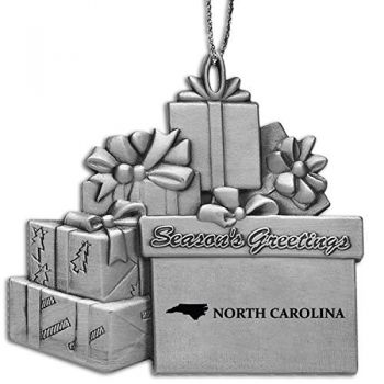 North Carolina-State Outline-Pewter Gift Package Ornament-Silver