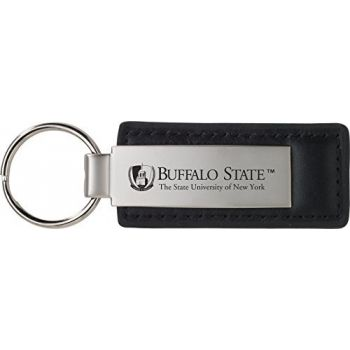 Buffalo State, State University of New York - Leather and Metal Keychain - Black
