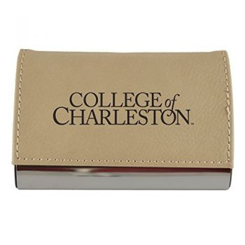Velour Business Cardholder-College of Charleston-Tan