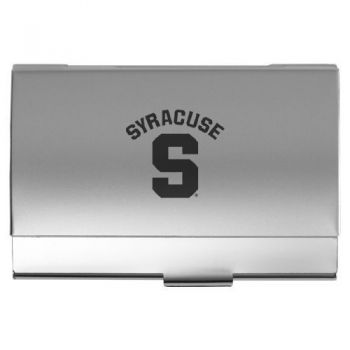 Syracuse University - Two-Tone Business Card Holder - Silver