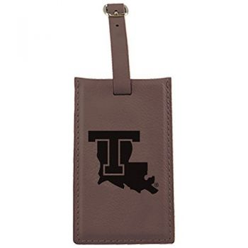 Louisiana Tech University -Leatherette Luggage Tag-Brown