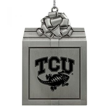 Texas Christian University -Pewter Christmas Holiday Present Ornament-Silver