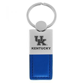 University of Kentucky-Leather and Metal Keychain-Blue
