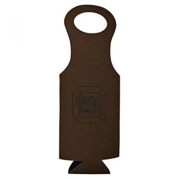 University of South Carolina-Velour Wine Tote-Brown
