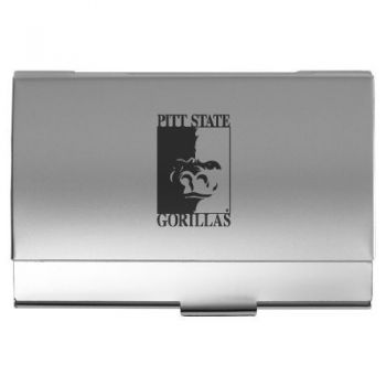 Pittsburg State University - Two-Tone Business Card Holder - Silver