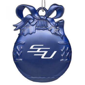 Savannah State University - Pewter Christmas Tree Ornament - Blue