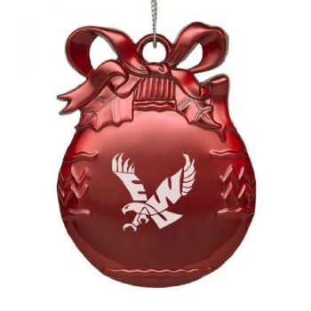 Eastern Washington University - Pewter Christmas Tree Ornament - Red