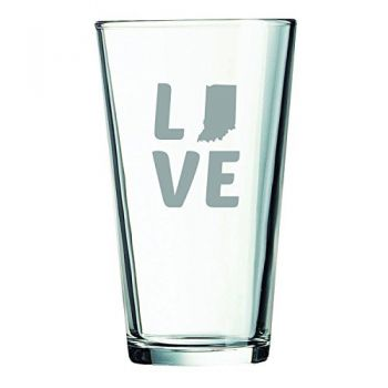 Indiana-State Outline-Love-16 oz. Pint Glass