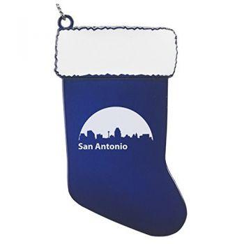 Pewter Stocking Christmas Ornament - San Antonio City Skyline