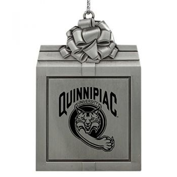 Quinnipiac University -Pewter Christmas Holiday Present Ornament-Silver