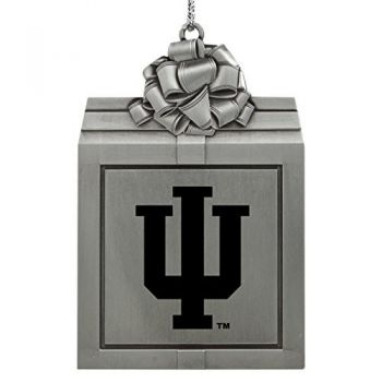 Indiana University -Pewter Christmas Holiday Present Ornament-Silver