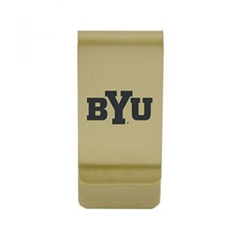 Brigham Young University|Money Clip with Contemporary Metals Finish|Solid Brass|High Tension Clip to Securely Hold Cash, Cards and ID's|Silver
