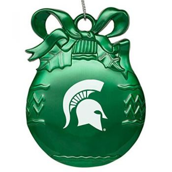 Michigan State University - Pewter Christmas Tree Ornament - Green