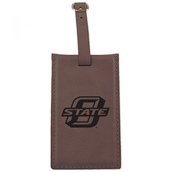 Oklahoma State University -Leatherette Luggage Tag-Brown