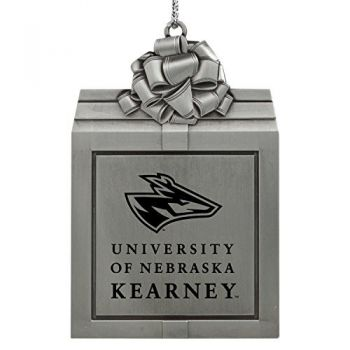 University of Nebraska at Kearney -Pewter Christmas Holiday Present Ornament-Silver