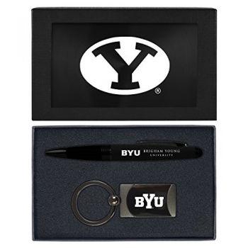 Brigham Young University -Executive Twist Action Ballpoint Pen Stylus and Gunmetal Key Tag Gift Set-Black