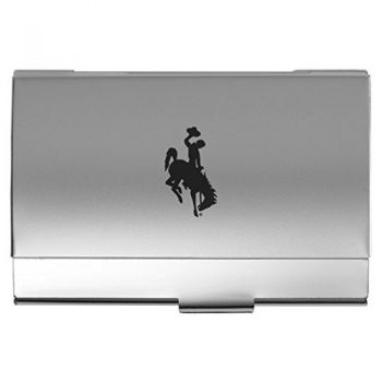 University of Wyoming - Two-Tone Business Card Holder - Silver