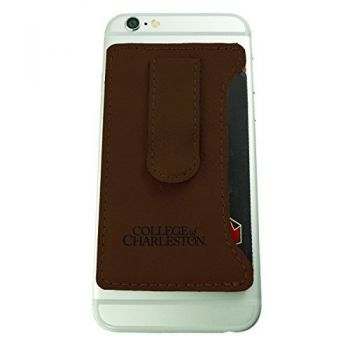 College of Charleston-Leatherette Cell Phone Card Holder-Brown