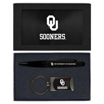 University of Oklahoma-Executive Twist Action Ballpoint Pen Stylus and Gunmetal Key Tag Gift Set-Black