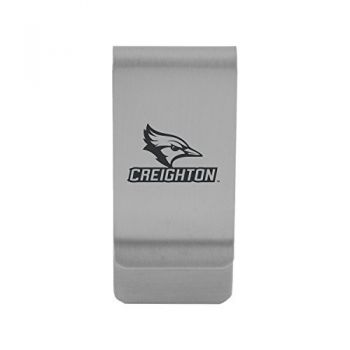 Creighton University|Money Clip with Contemporary Metals Finish|Solid Brass|High Tension Clip to Securely Hold Cash, Cards and ID's|Gold