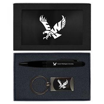 Eastern Washington University -Executive Twist Action Ballpoint Pen Stylus and Gunmetal Key Tag Gift Set-Black