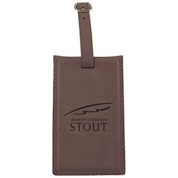 University of Wisconsin-Stout-Leatherette Luggage Tag-Brown