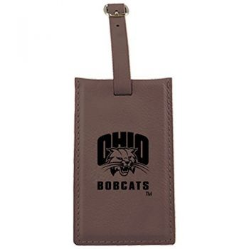 Ohio University -Leatherette Luggage Tag-Brown