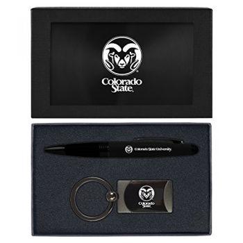 Colorado State University -Executive Twist Action Ballpoint Pen Stylus and Gunmetal Key Tag Gift Set-Black