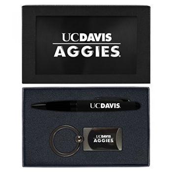 University of California, Davis -Executive Twist Action Ballpoint Pen Stylus and Gunmetal Key Tag Gift Set-Black