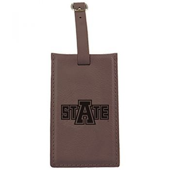 Arkansas State University -Leatherette Luggage Tag-Brown