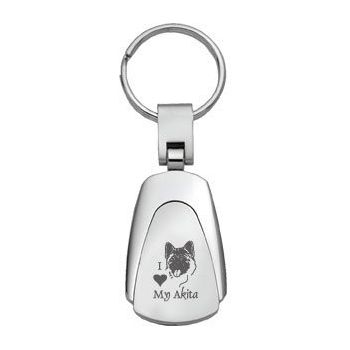 Teardrop Shaped Keychain Fob  - I Love My Akita