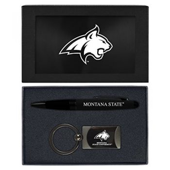 Montana State University -Executive Twist Action Ballpoint Pen Stylus and Gunmetal Key Tag Gift Set-Black