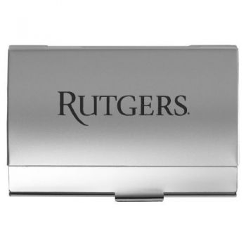 Rutgers University - Two-Tone Business Card Holder - Silver