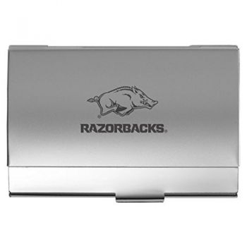 University of Arkansas - Two-Tone Business Card Holder - Silver