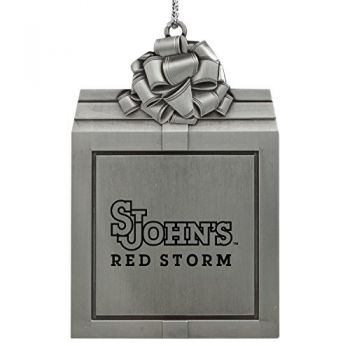 St. John's University -Pewter Christmas Holiday Present Ornament-Silver