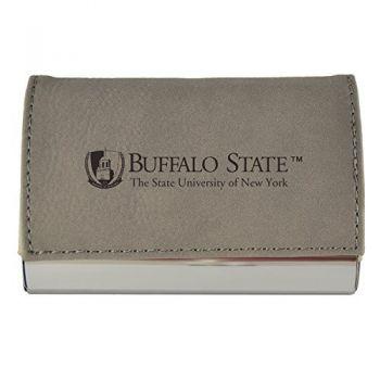 Velour Business Cardholder-Buffalo State University-The State University of New York-Grey