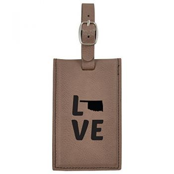 Oklahoma-State Outline-Love-Leatherette Luggage Tag -Brown