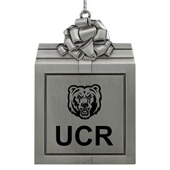 University of California, Riverside-Pewter Christmas Holiday Present Ornament-Silver