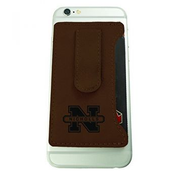 Nicholls State University -Leatherette Cell Phone Card Holder-Brown