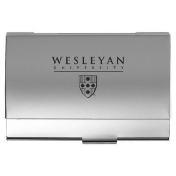 Wesleyan University - Two-Tone Business Card Holder - Silver