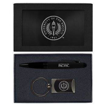 University of The Pacific -Executive Twist Action Ballpoint Pen Stylus and Gunmetal Key Tag Gift Set-Black