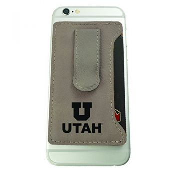 University of Utah-Leatherette Cell Phone Card Holder-Tan