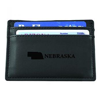 Nebraska-State Outline-European Money Clip Wallet-Black