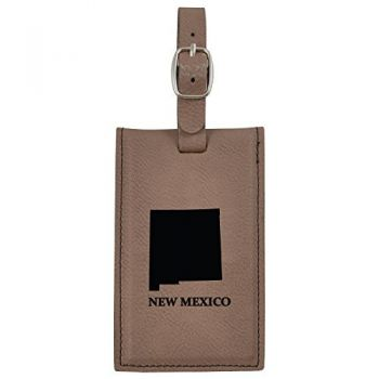 New Mexico-State Outline-Leatherette Luggage Tag -Brown
