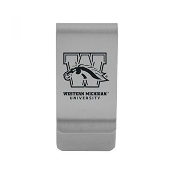Western Michigan University|Money Clip with Contemporary Metals Finish|Solid Brass|High Tension Clip to Securely Hold Cash, Cards and ID's|Gold