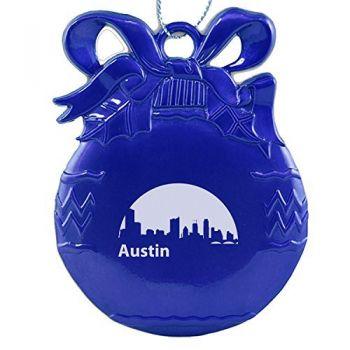 Pewter Christmas Bulb Ornament - Austin City Skyline