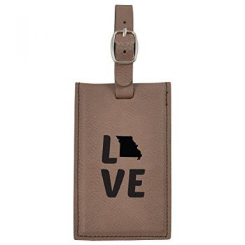 Missouri-State Outline-Love-Leatherette Luggage Tag -Brown