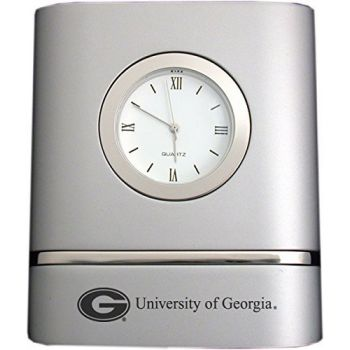 University of Georgia- Two-Toned Desk Clock -Silver
