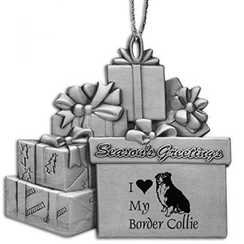 Pewter Gift Display Christmas Tree Ornament  - I Love My Border Collie