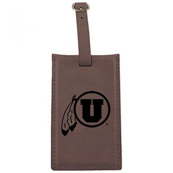 University of Utah-Leatherette Luggage Tag-Brown